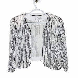 Jeanne Alexander Vintage black and white silver shimmer evening shrug size 18W
